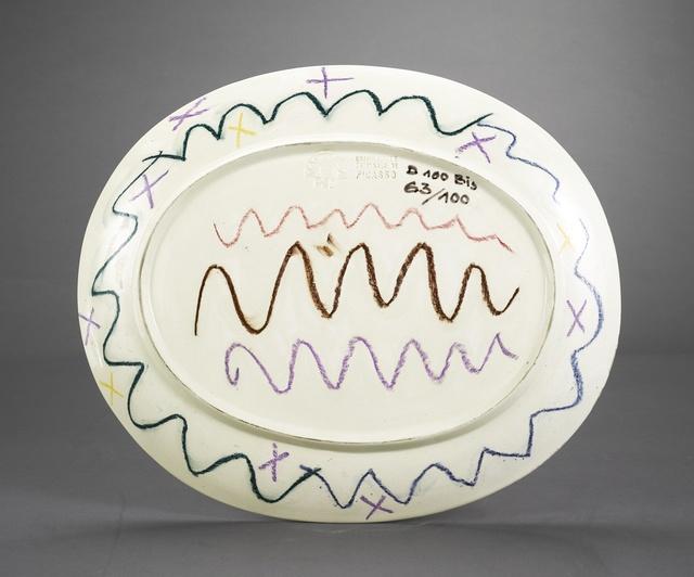 Pablo Picasso, 'Visages géométrique (recto); Pastelles et patine (verso) (A.R. 357)', 1956, Other, Terre de faïence platter, painted in colors and glazed, Sotheby's
