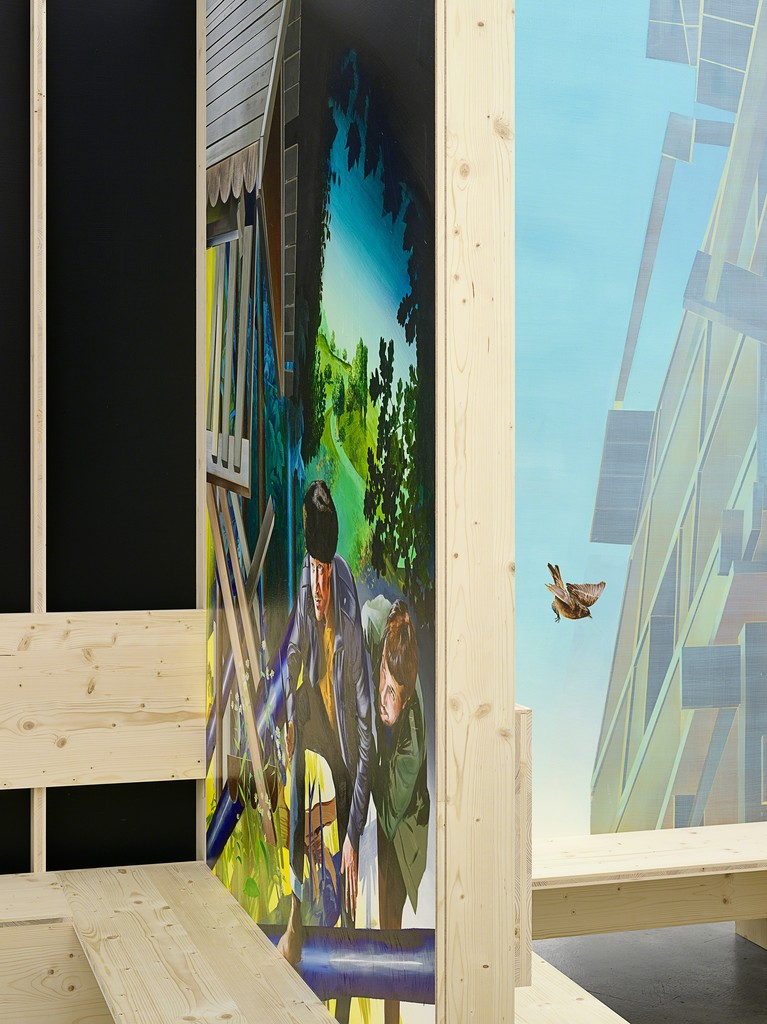 Susanne Kühn & Inessa Hansch, Bank (detail), 2015, construction: laminated wood, painting: acrylic on wallboard, 270 x 329 x 329 cm