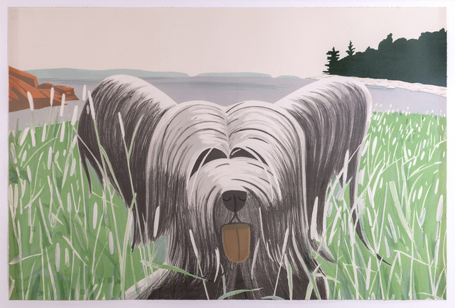 Alex Katz, 'Dog at Ducktrap', 1975-1976, Print, Lithograph in ten colors on Arches Cover White paper, Richard Levy Gallery
