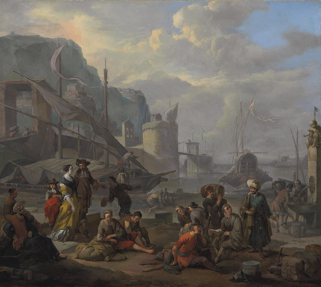 , 'A Mediterranean port with an elegant couple and travelers resting by the quay,' 1665, Christie's Old Masters