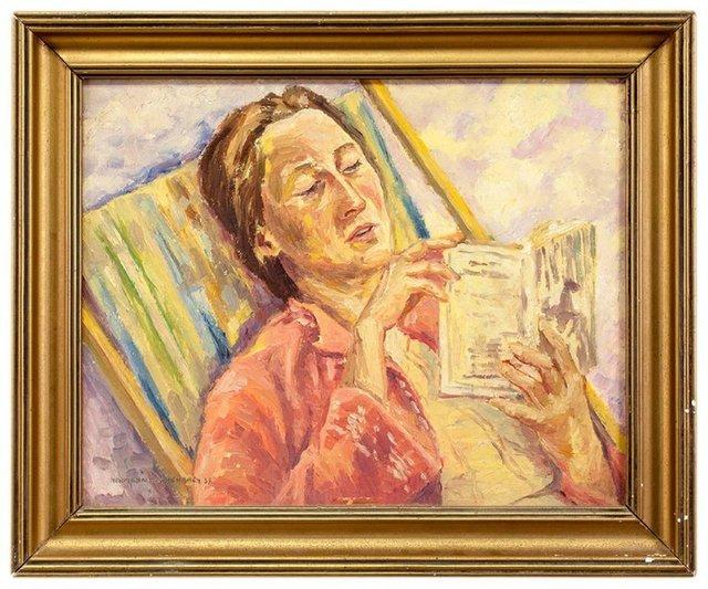 Hermann Israel Fechenbach, 'Portrait of Margarete Reading a Book in a Striped Lawnchair', 1937, Lions Gallery