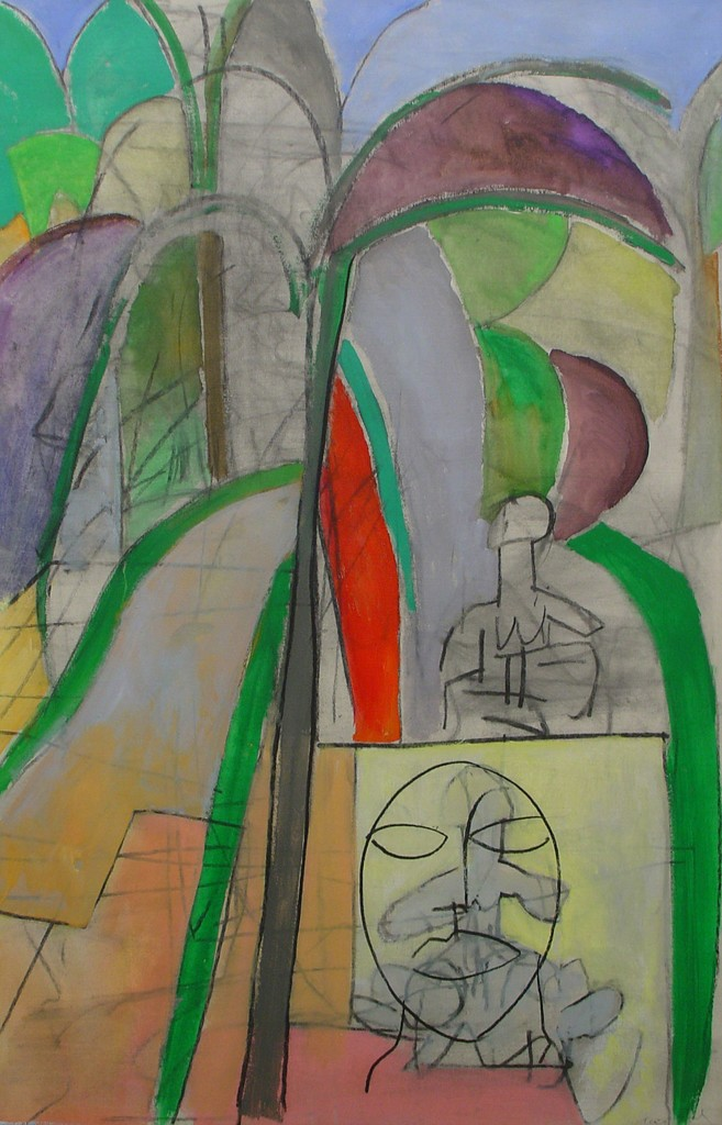 Untitled (Tropical Landscape with African Mask)