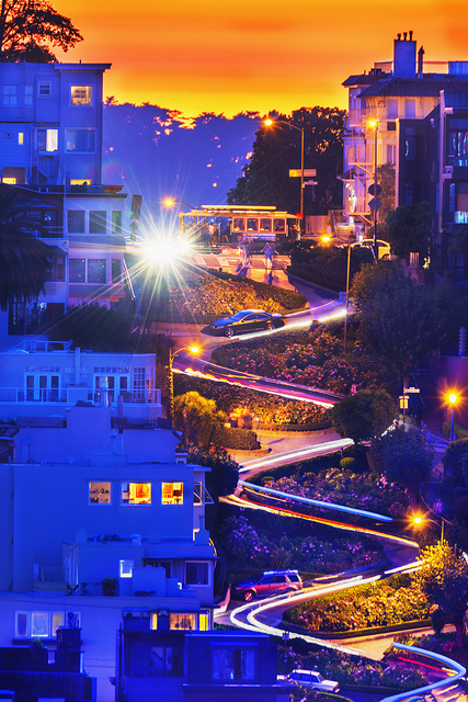 Mitchell Funk, 'Lombard Street at Dusk , San Francisco', 2015, Robert Funk Fine Art