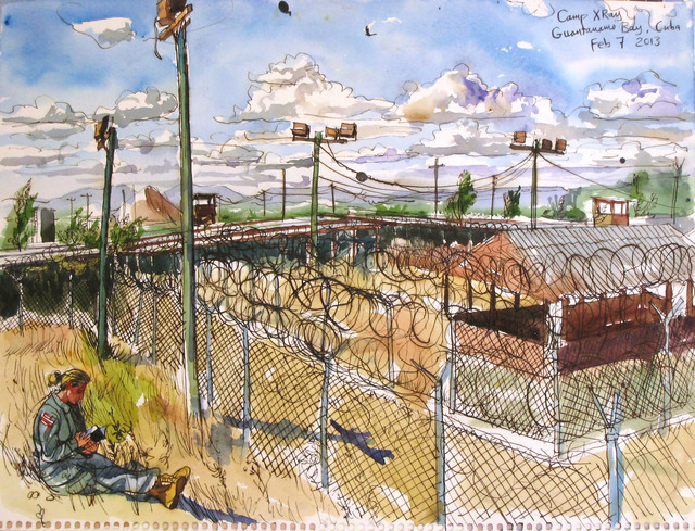 Steve Mumford, '2/7/13, Camp X-Ray, Guantanamo Bay, Cuba', 2013, Drawing, Collage or other Work on Paper, Ink and wash on paper, Postmasters Gallery