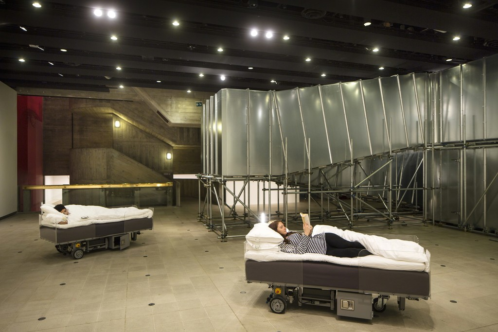 Installation view: Two Roaming Beds and Decision Corridors, Carsten Höller: Decision at Hayward Gallery, Photo © David Levene