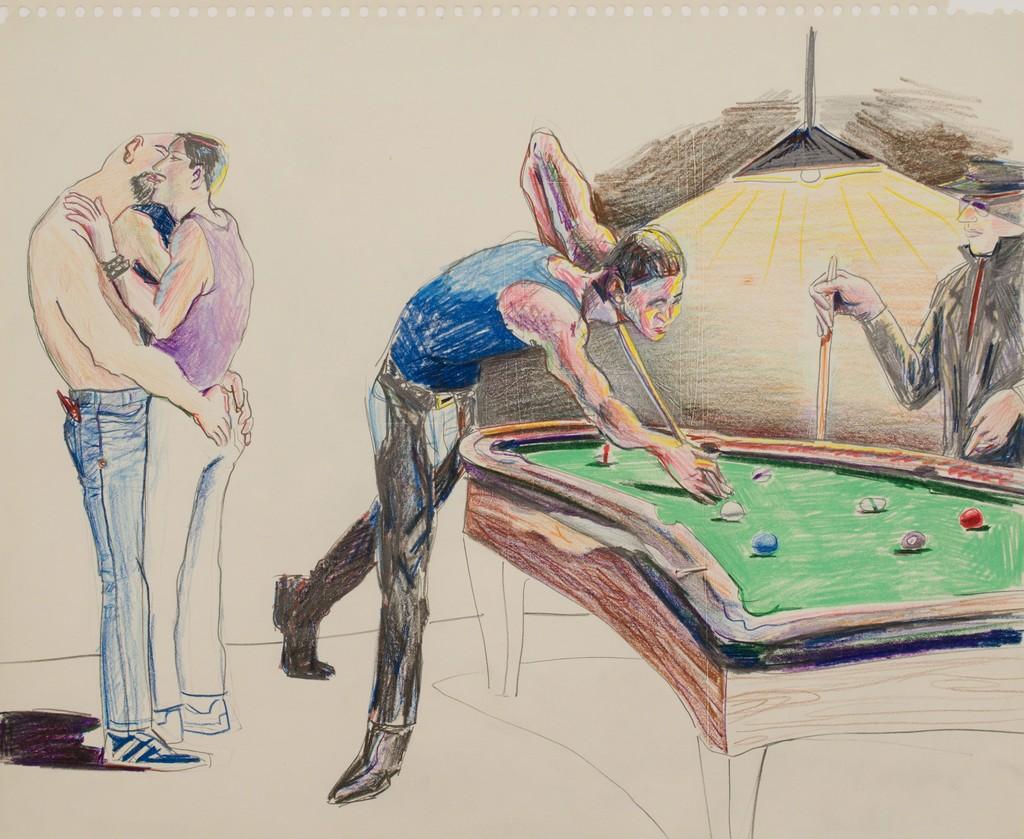 Patrick Angus, Pool Hall Scene, Buntstift auf auf Papier, 35,5 x 43 cm