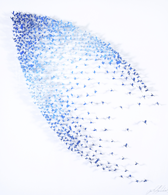 , 'Abstract - Shades Of Blue Birds On White,' , Blue Gallery