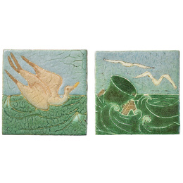 Two tiles decorated in cuerda seca with seagulls, Boston, MA