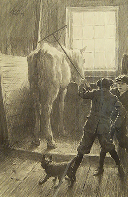 Worth Brehm, 'Penrod and Sam with Rake and Horse in the Barn', 1910-1918, The Illustrated Gallery