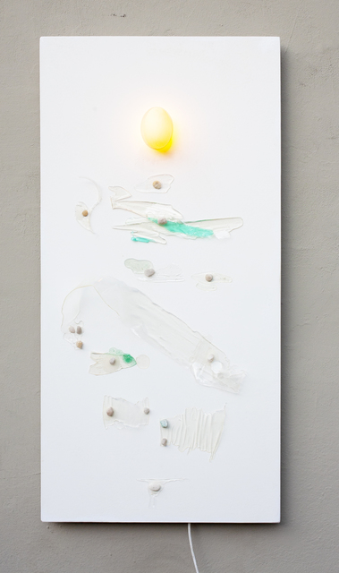 Luca Lionello, 'Plastic pandemic', 2020, Mixed Media, Epoxy resin leftover, pebbles, Goose egg, Birch plywood, LED, painted on the back, 11 [HH] Art Gallery