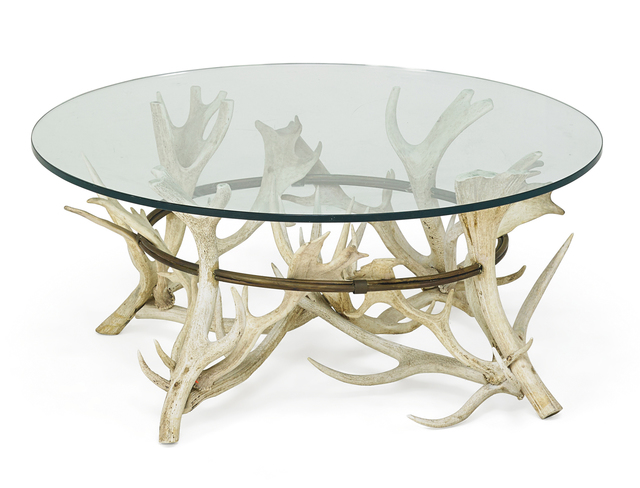 Antler Glass Top Coffee Table 20th C Artsy