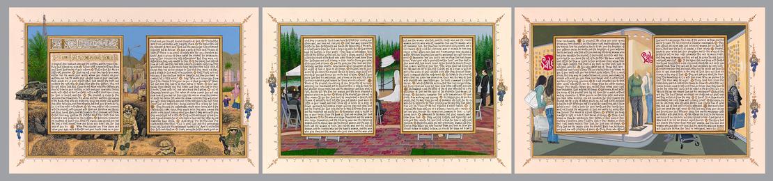 Sandow Birk, 'American Qur'an: Sura 33 A-C, triptych,' 2014, Koplin Del Rio