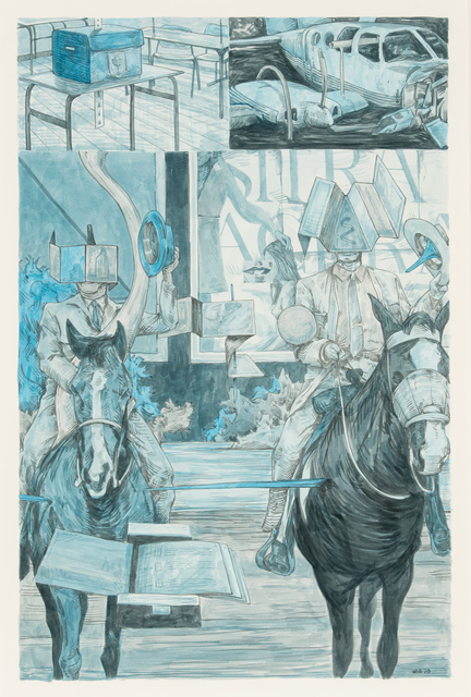 William Buchina, 'Scenery in Blue #3', 2020, Drawing, Collage or other Work on Paper, Ink on paper, Hollis Taggart