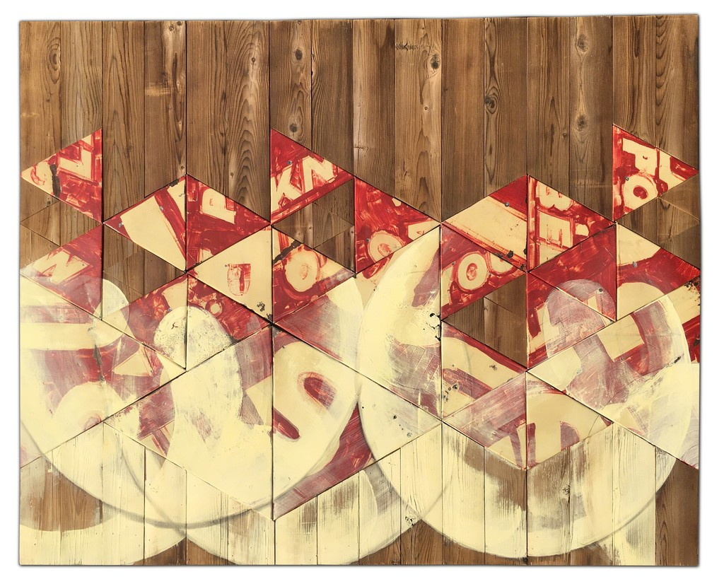 """Formation"" by Benjamin Lowder, 2017, mixed media over vintage metal signage and reclaimed wood, 49"" x 61"""