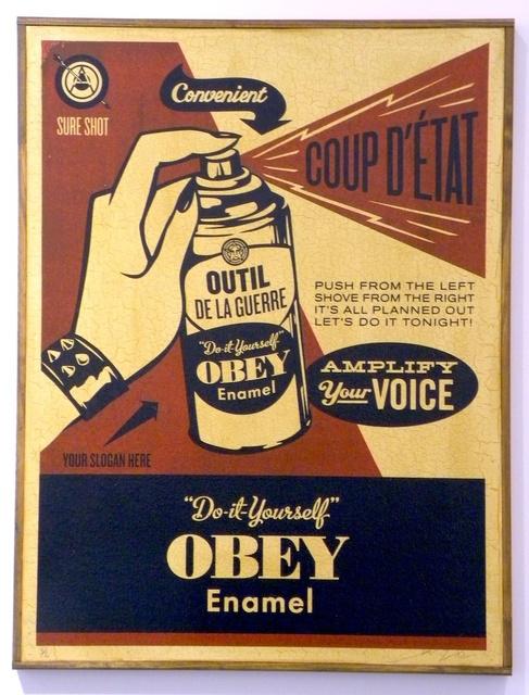 Shepard Fairey (OBEY), 'Obey Coup d'Etat (on wood)', 2003, Gregg Shienbaum Fine Art
