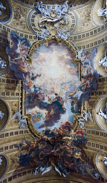 Giovanni Battista Gaulli, called Baciccio, 'The Triumph of the Name of Jesus and the Fall of the Damned', 1672-1685, Painting, Fresco with stucco figures, Art History 101