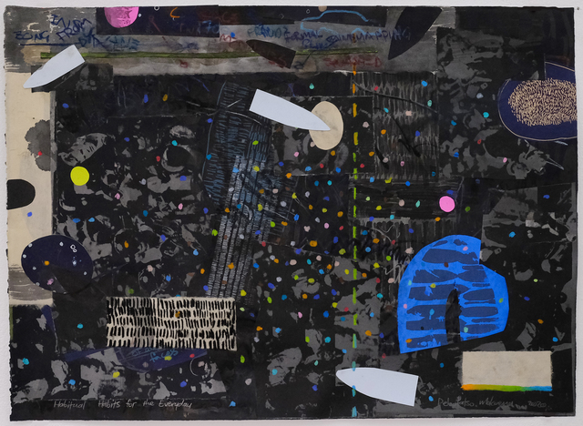 Pebofatso Mokoena, 'Habitual Habits for the Everyday', 2020, Drawing, Collage or other Work on Paper, Mixed media drawing with Stabilo water-soluble wax crayon, Sumi ink and acrylic wash with drawing and silkscreened collage on Hosho, light blue Magnani Pescia, Mingei black and Kitakata papers, adhered to a single-colour silkscreen on Arches 88, 300gsm, David Krut Projects