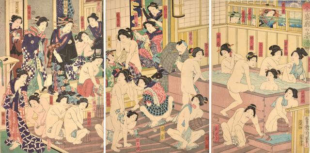 Toyohara Kunichika, 'Kabuki Actors at the Yoshiwara Bath', 1868, Print, Woodblock, Ronin Gallery