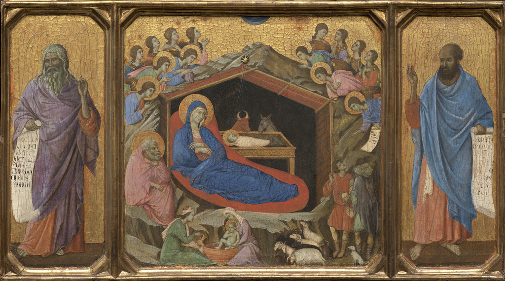 Duccio, 'The Nativity with the Prophets Isaiah and Ezekiel,' 1308/1311, National Gallery of Art, Washington, D.C.