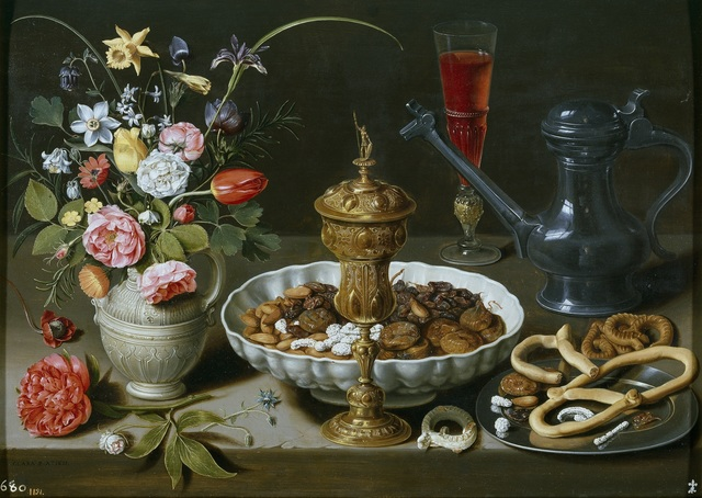 Clara Peeters, 'Still Life with Flowers, Goblet, Dried Fruit, and Pretzels', 1611, Art History 101