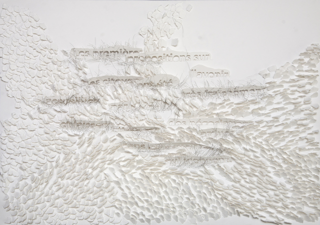 Safaa Erruas, 'Palabras medidas', Drawing, Collage or other Work on Paper, Metal threads and paper cuts, L'Atelier 21