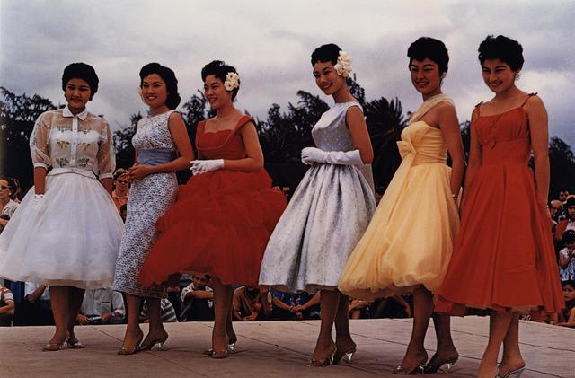 , 'Americans in Kodachrome 1945-65, Beauty Contestants, Kapiolani Park, Honolulu, Hawaii.  Photographer: Oscar Wikeen,' 1958, ROSEGALLERY