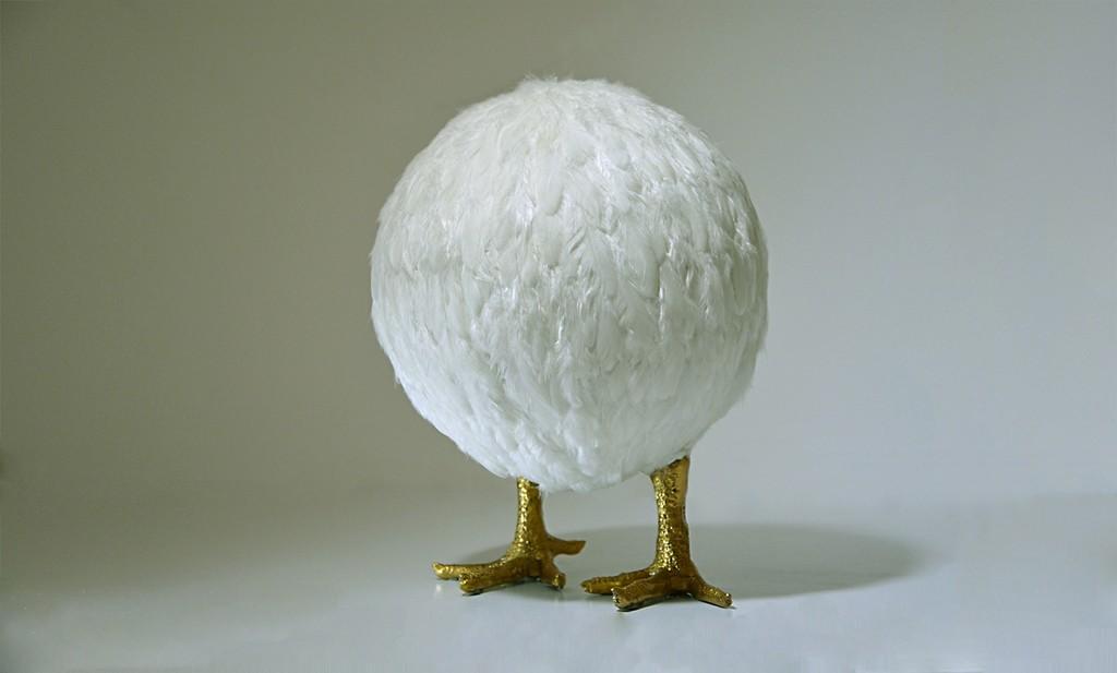 Nafie Ben Krich 'Chicken Ball II' (2015) Chicken feathers, gold leaf on polyester mould 26,5x20cm