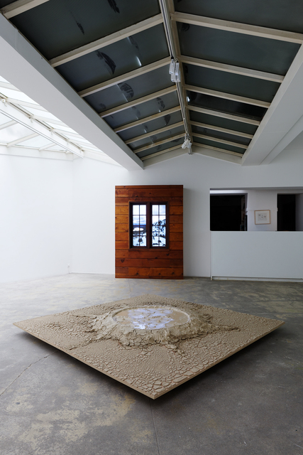 , 'Exhibition view of Kinetic Landscape(s), floor installation : Condensation of Yellow Stone Park Into 64 Square Feet / Wooden installation : Donner Pass (After Bierstadt, for David Kos),' floor installation : 1969 (built) / Wooden installation : 2016, GALERIE GEORGES-PHILIPPE ET NATHALIE VALLOIS