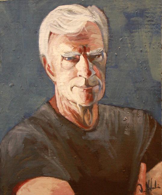 """Dennis Study"" by Dave Hardin. Oil on Corrugated Cardboard. 15"" x 17"""