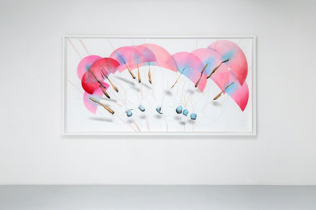 Exhibition view: Jorinde Voigt, The Shift, Rotationsrichtung, Rotationsgeschwindigkeit, 1-34 Umdrehungen/ Tag, Now (1)-(12), Now (13)-(25), Vorgestern → ∞, Gestern → ∞, Heute → ∞, Morgen → ∞, Übermorgen → ∞, Ausrichtung Oben, Ausrichtung Erdmittelpunkt, Erdoberfläche, Horizont, 2016, 140 x 280 cm.  Courtesy König Galerie, Berlin, David Nolan Gallery, New York, and Lisson Gallery London, VG Bild-Kunst, 2016,   Photo: Verena Nagl