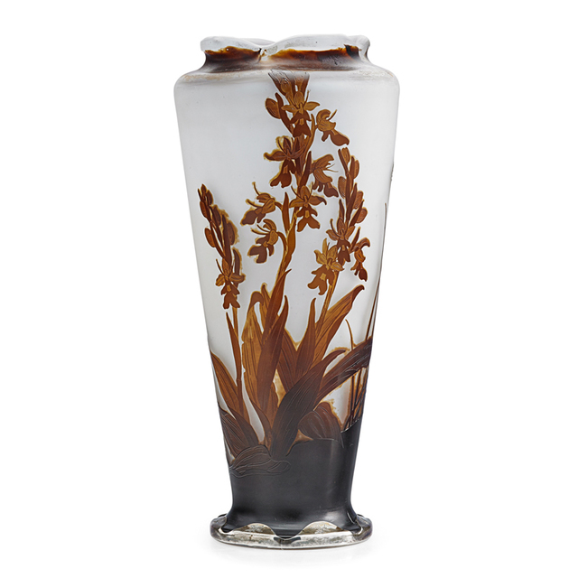 Galle, 'Tall Vase With Crocosmia Orchid Under A Scalloped Rim, France', Early 20th C., Design/Decorative Art, Acid-Etched Cameo Glass, Silver, Rago/Wright