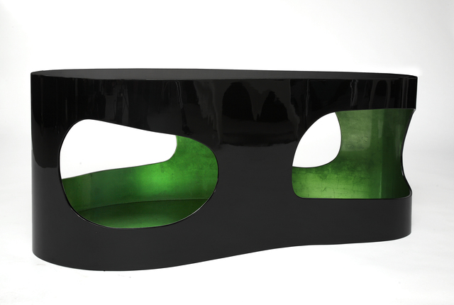 """Jacques Jarrige, 'Coffee Table """"Cloud"""" with Silver Leaf and Green lacquer', 2016, Design/Decorative Art, MDF silver leaf and lacquer, Valerie Goodman Gallery"""