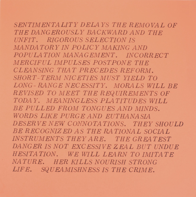 "Jenny Holzer, 'From the series ""Inflammatory Essays""', 1979-1982, Benjamin Ogilvy Projects"