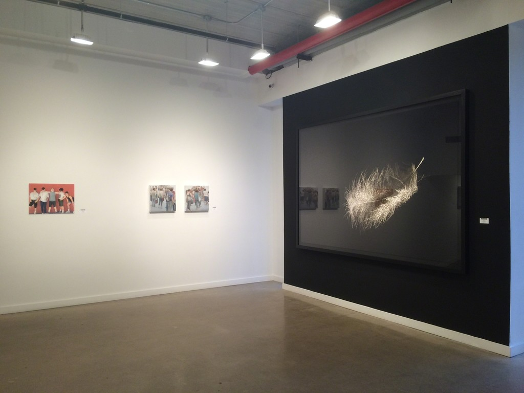 "From left: Cobi Moules ""Untitled, Summer Shoot 4"", Mary Henderson ""Marchers I and II"" (center), Angelo Musco ""P1, Aves"" (right)"