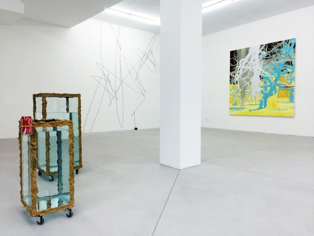 "(front, left) Angelika Loderer – Untitled (Cola), 2015; Untitled, 2015  – (both works from the series ""Coming in Pieces"")