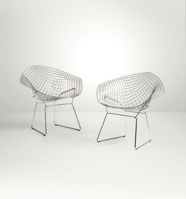 Harry Bertoia, 'A pair of Diamond chairs with a chromed metal structure and fabric upholstery', 1960 ca., Cambi