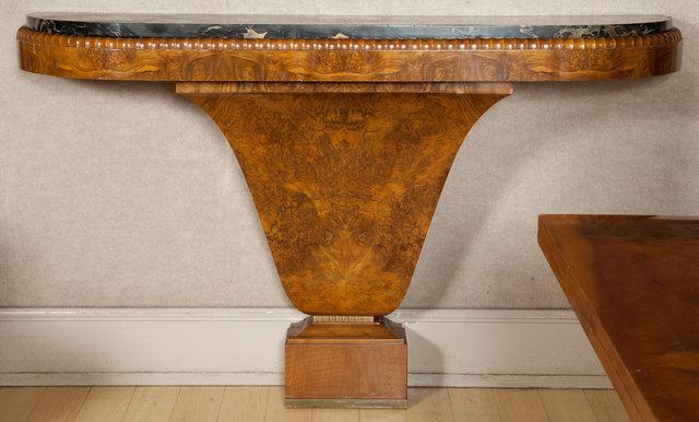'Art Deco Burlwood Marble Top Wall Mounted Console', Doyle