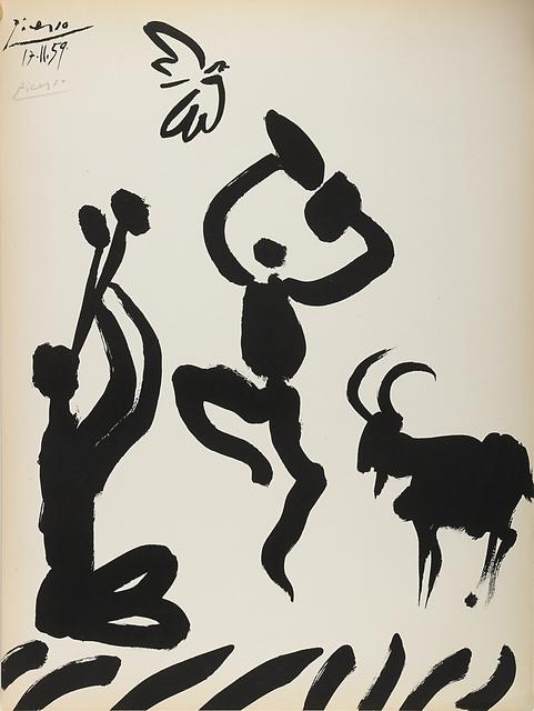 Pablo Picasso, 'Musicien, Danseur, Chevre et Oiseau', 1959, Print, Lithograph, Rago/Wright