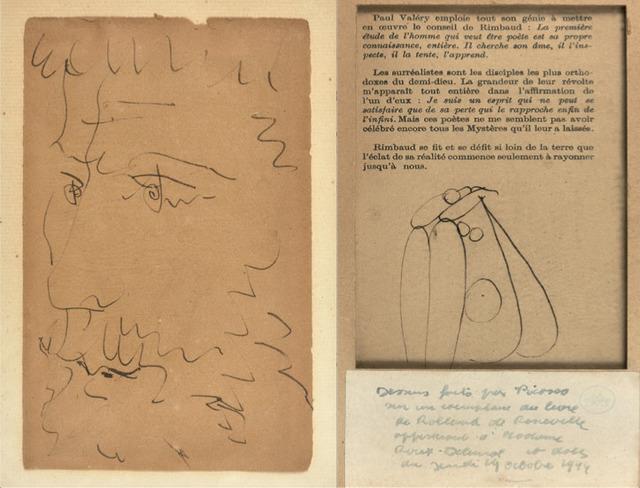Pablo Picasso, 'Tête d'homme barbu au verso et au recto : Nu assis de dos', Unknown, HELENE BAILLY GALLERY