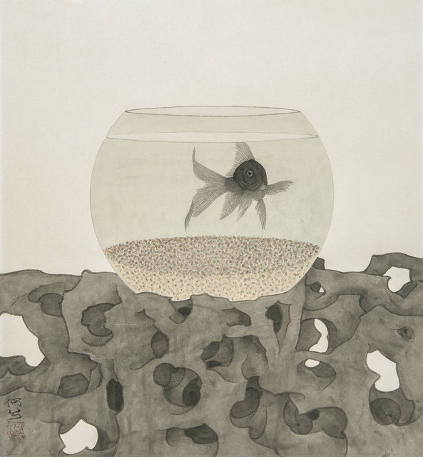 He Xi, 'The Fish Being Watched II', 2019, Painting, Ink and Chinese pigments on rice paper, Jonathan Cooper