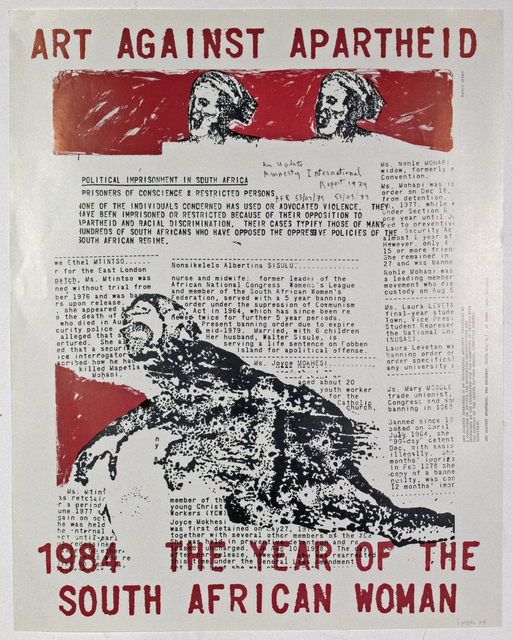 Nancy Spero, 'Artists Against Apartheid Poster- signed and dated', 1984, ICA London Benefit Auction