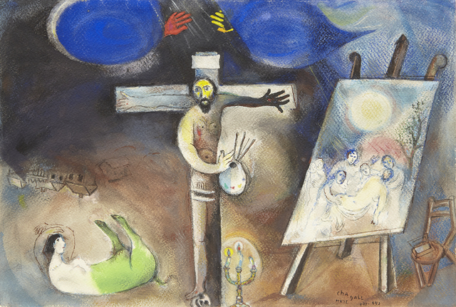 Marc Chagall, 'Painter Crucified', 1941-42, Drawing, Collage or other Work on Paper, Pastel and gouache on paper, Acquavella Galleries