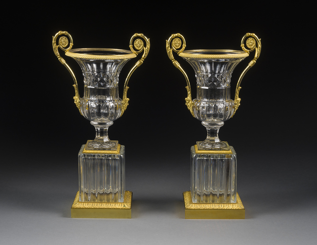 , 'Pair Empire Clear Cut Glass and Ormolu Crater Vases on Square Bases,' ca. 1815, Hirschl & Adler Galleries