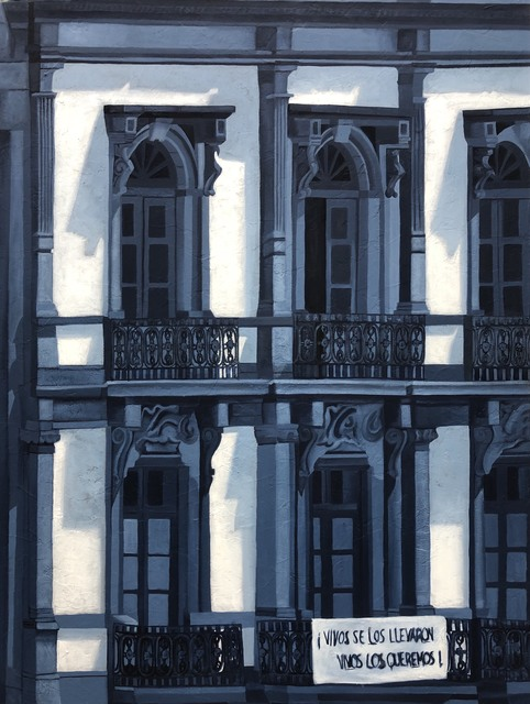 Cecilia Villanueva, 'The Building that Speaks, Mexico City Architecture, blue and white cityscape, post modern realism, shadows and light, conceptual art, Downtown, ', 2019, Archway Gallery