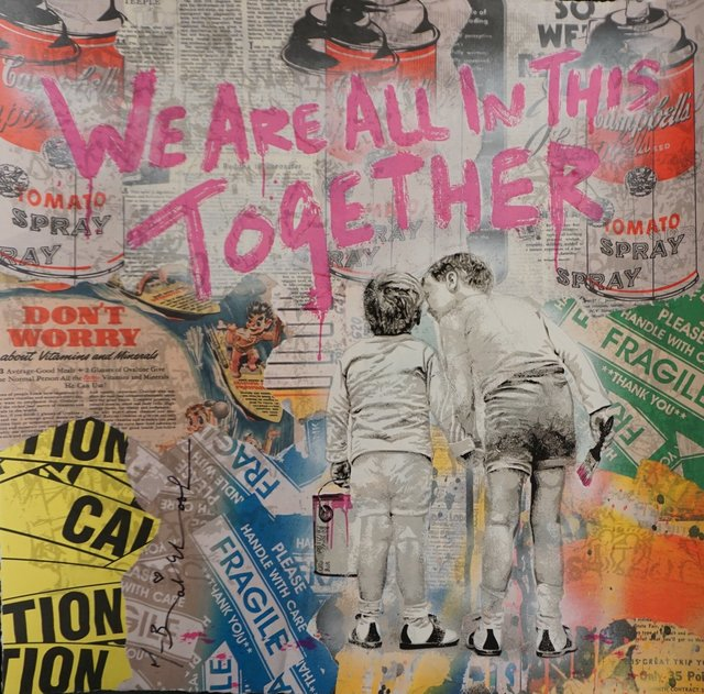 Mr. Brainwash, 'We Are All In This Together', We Are All In This Together, Mixed Media, Mixed Media unique on Paper, Fine Art Acquisitions Dali