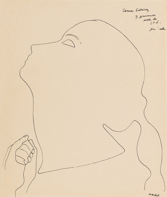 Andy Warhol, 'Portrait of a Dancer (Carmen Gutherrey)', 1954, Drawing, Collage or other Work on Paper, Ink on paper, Galerie Crone