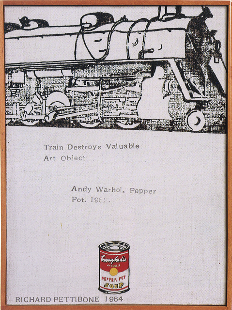 """, 'Train Destroys Valuable Art Object; Andy Warhol, """"Campbell's Soup Can (Pepper Pot)"""", 1962,' 1964, Collectors Contemporary"""