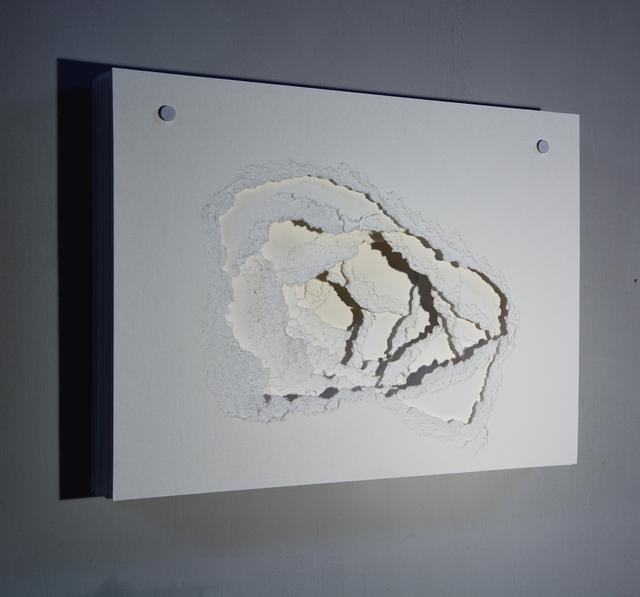 Angela Glajcar, '2014-065 Terforation', 2014, Sculpture, Paper 500g, cracked, holder off Metal and plastic, Galería Marita Segovia