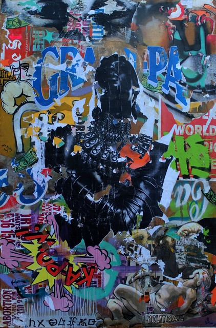 Mncedi Madolo, 'Grand Pa III', 2020, Painting, Spray paint and collage on canvas, WORLDART