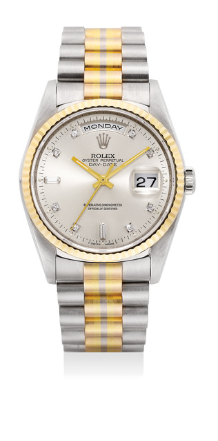 Rolex, 'A fine and rare white gold, yellow gold, pink gold and diamond-set wristwatch with center seconds, day, date and three-tone bracelet', Circa 1990, Phillips